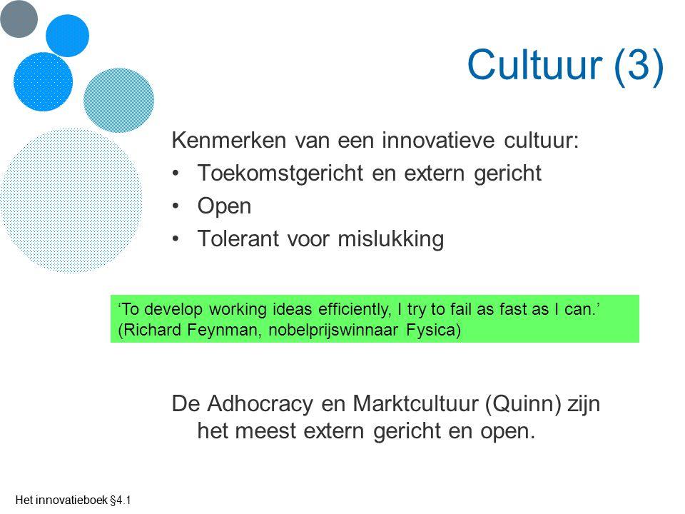 Het innovatieboek Cultuur (3) Kenmerken van een innovatieve cultuur: Toekomstgericht en extern gericht Open Tolerant voor mislukking De Adhocracy en M