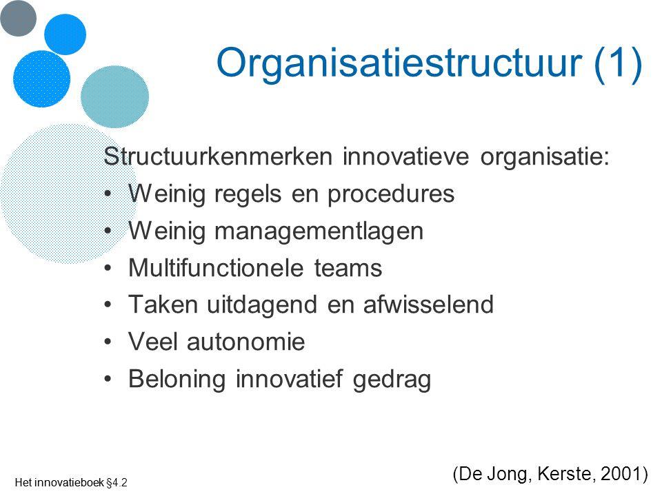 Het innovatieboek Organisatiestructuur (1) Structuurkenmerken innovatieve organisatie: Weinig regels en procedures Weinig managementlagen Multifunctio