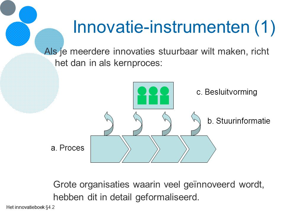 Het innovatieboek Innovatie-instrumenten (1) Als je meerdere innovaties stuurbaar wilt maken, richt het dan in als kernproces: a. Proces b. Stuurinfor