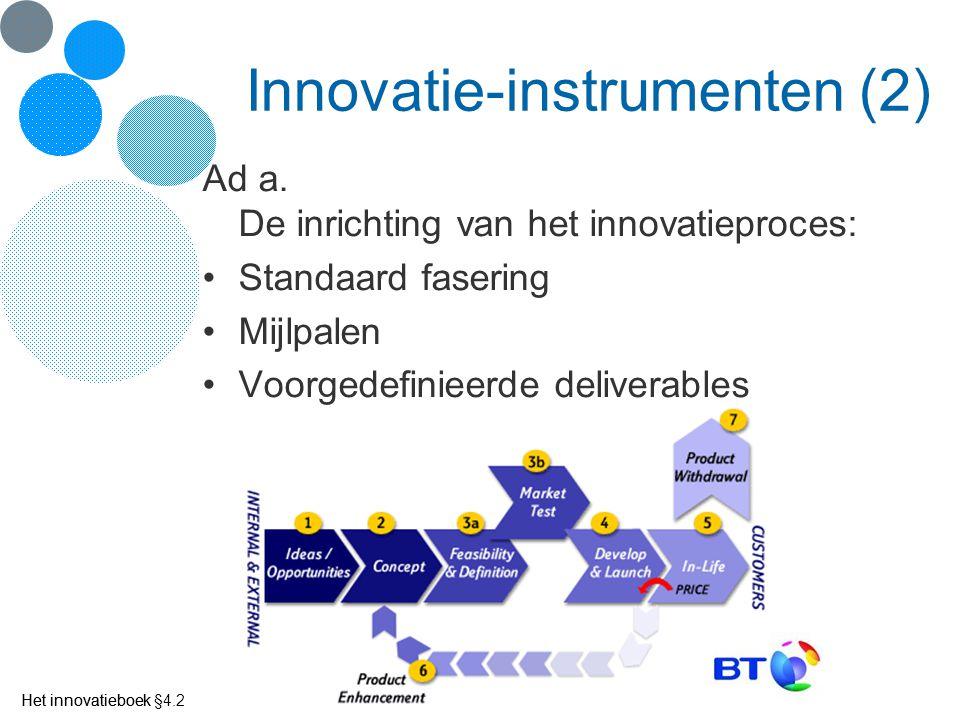 Het innovatieboek Innovatie-instrumenten (2) Ad a. De inrichting van het innovatieproces: Standaard fasering Mijlpalen Voorgedefinieerde deliverables