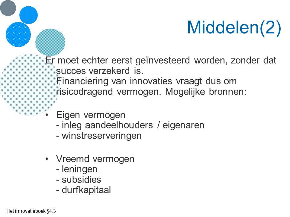 Het innovatieboek Middelen(2) Er moet echter eerst geïnvesteerd worden, zonder dat succes verzekerd is. Financiering van innovaties vraagt dus om risi