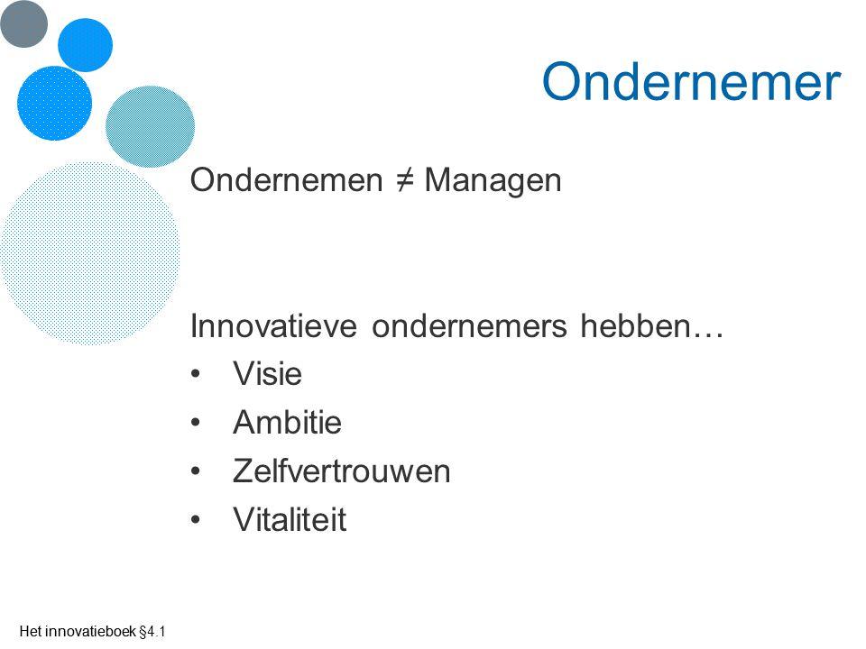 Het innovatieboek Ondernemer Ondernemen ≠ Managen Innovatieve ondernemers hebben… Visie Ambitie Zelfvertrouwen Vitaliteit Het innovatieboek §4.1