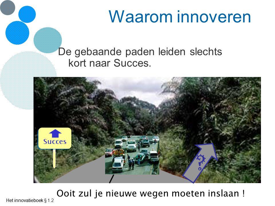 Het innovatieboek Waarom innoveren De gebaande paden leiden slechts kort naar Succes.