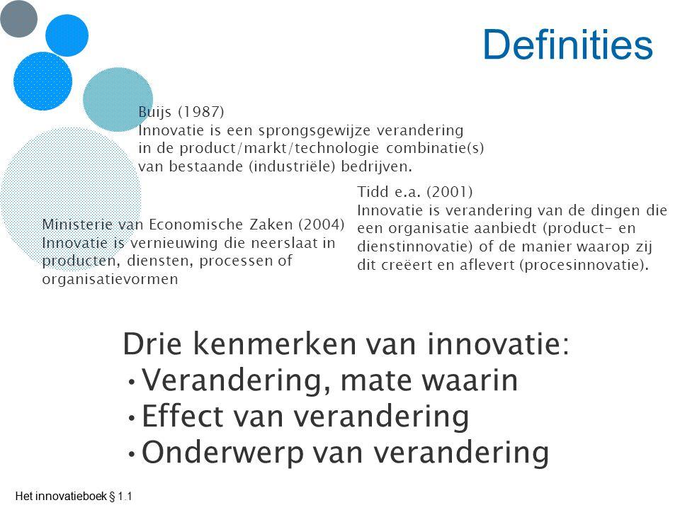 Het innovatieboek Definities Ministerie van Economische Zaken (2004) Innovatie is vernieuwing die neerslaat in producten, diensten, processen of organisatievormen Buijs (1987) Innovatie is een sprongsgewijze verandering in de product/markt/technologie combinatie(s) van bestaande (industriële) bedrijven.