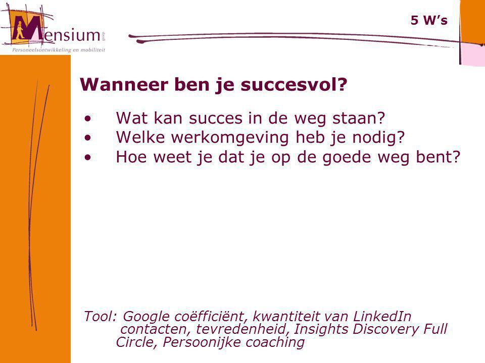 Wanneer ben je succesvol? Wat kan succes in de weg staan? Welke werkomgeving heb je nodig? Hoe weet je dat je op de goede weg bent? Tool: Google coëff