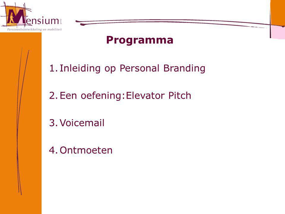 Programma 1.Inleiding op Personal Branding 2.Een oefening:Elevator Pitch 3.Voicemail 4.Ontmoeten