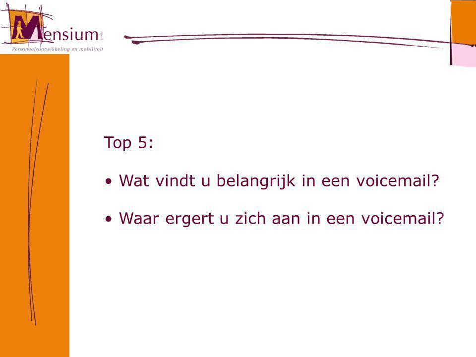 Top 5: Wat vindt u belangrijk in een voicemail? Waar ergert u zich aan in een voicemail?