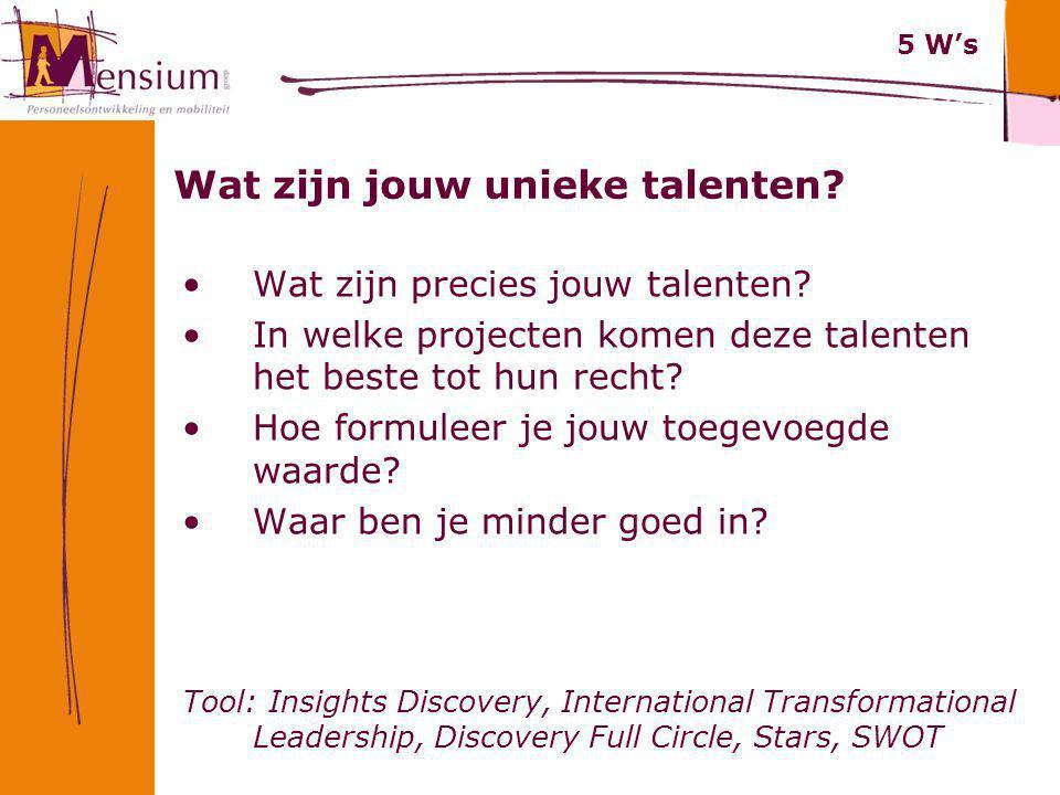 Wat zijn jouw unieke talenten? Wat zijn precies jouw talenten? In welke projecten komen deze talenten het beste tot hun recht? Hoe formuleer je jouw t