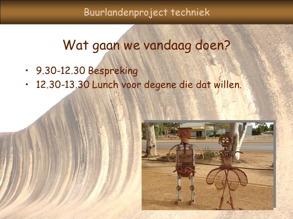 Buurlandenproject techniek Wat gaan we vandaag doen.