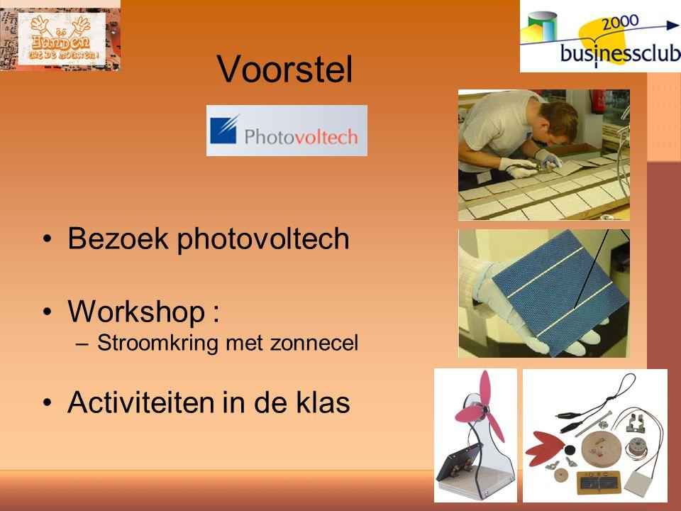 Voorstel Bezoek photovoltech Workshop : –Stroomkring met zonnecel Activiteiten in de klas