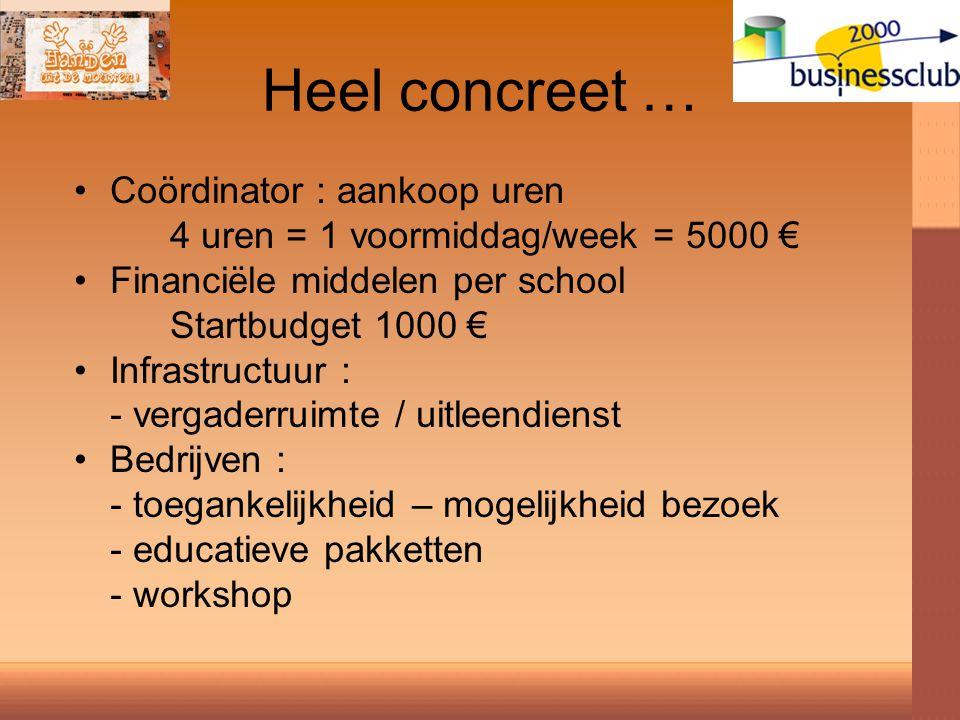 Heel concreet … Coördinator : aankoop uren 4 uren = 1 voormiddag/week = 5000 € Financiële middelen per school Startbudget 1000 € Infrastructuur : - vergaderruimte / uitleendienst Bedrijven : - toegankelijkheid – mogelijkheid bezoek - educatieve pakketten - workshop