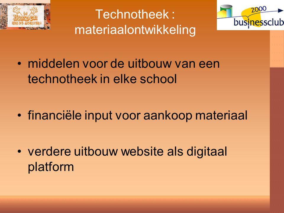 Technotheek : materiaalontwikkeling middelen voor de uitbouw van een technotheek in elke school financiële input voor aankoop materiaal verdere uitbouw website als digitaal platform