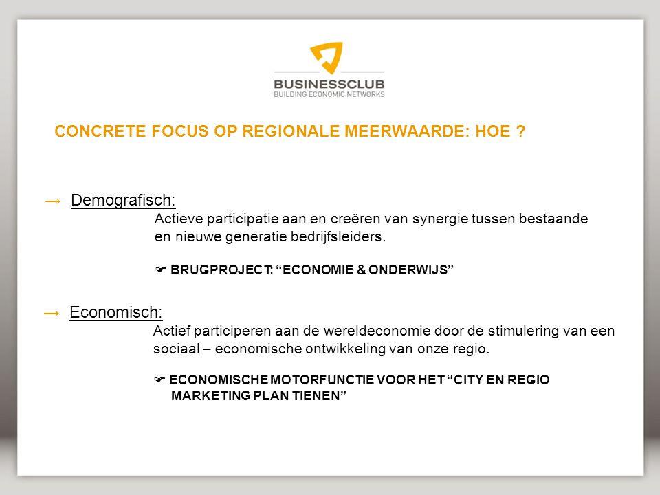 →Demografisch: Actieve participatie aan en creëren van synergie tussen bestaande en nieuwe generatie bedrijfsleiders.