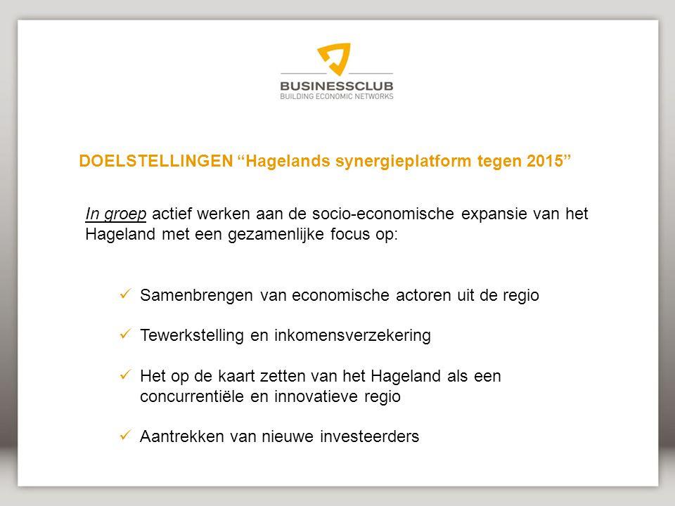 In groep actief werken aan de socio-economische expansie van het Hageland met een gezamenlijke focus op: Samenbrengen van economische actoren uit de regio Tewerkstelling en inkomensverzekering Het op de kaart zetten van het Hageland als een concurrentiële en innovatieve regio Aantrekken van nieuwe investeerders DOELSTELLINGEN Hagelands synergieplatform tegen 2015