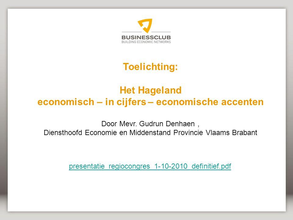 Toelichting: Het Hageland economisch – in cijfers – economische accenten Door Mevr.