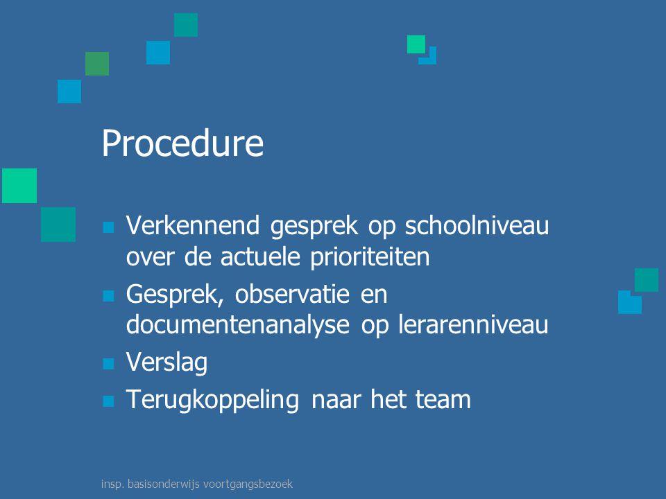 insp. basisonderwijs voortgangsbezoek Duur In principe één dag één inspecteur, de ressortinspecteur