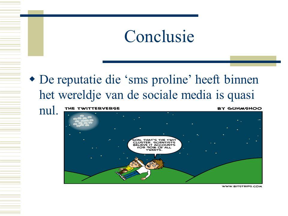 Conclusie  De reputatie die 'sms proline' heeft binnen het wereldje van de sociale media is quasi nul.