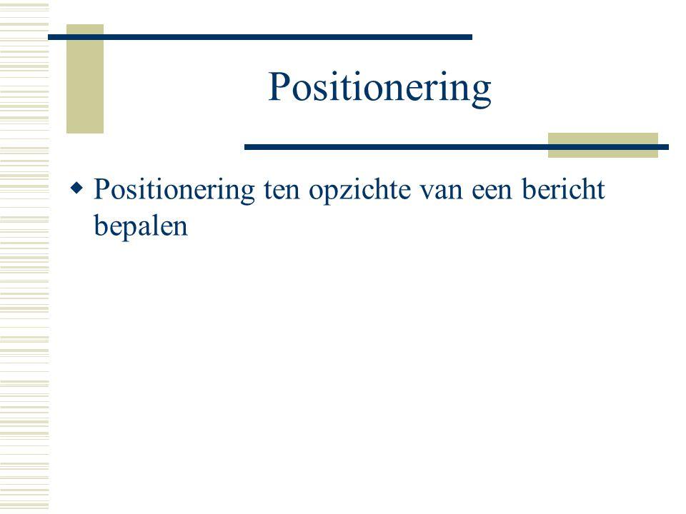 Positionering  Positionering ten opzichte van een bericht bepalen
