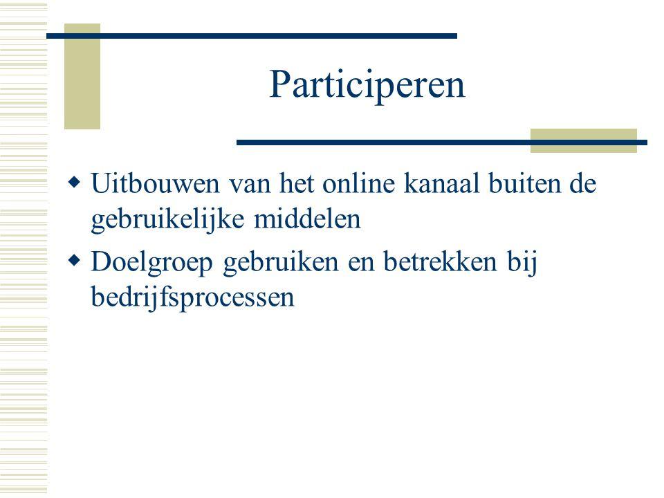 Participeren  Uitbouwen van het online kanaal buiten de gebruikelijke middelen  Doelgroep gebruiken en betrekken bij bedrijfsprocessen