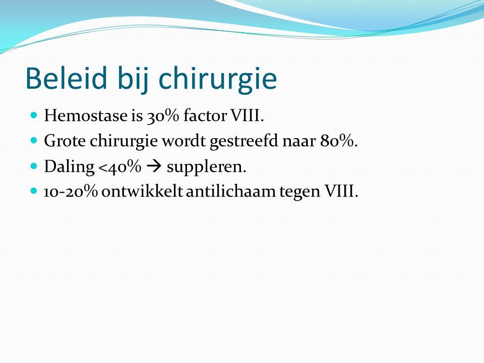Beleid bij chirurgie Hemostase is 30% factor VIII.