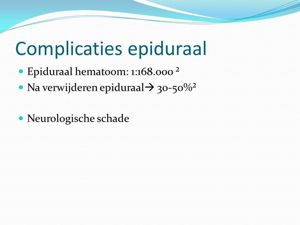 Complicaties epiduraal Epiduraal hematoom: 1:168.000 ² Na verwijderen epiduraal  30-50%² Neurologische schade
