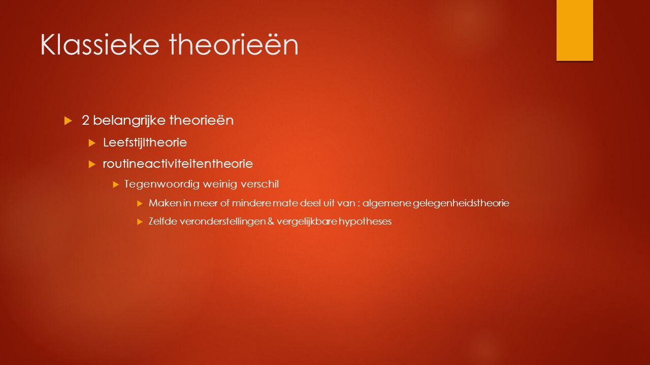 Klassieke theorieën  2 belangrijke theorieën  Leefstijltheorie  routineactiviteitentheorie  Tegenwoordig weinig verschil  Maken in meer of minder