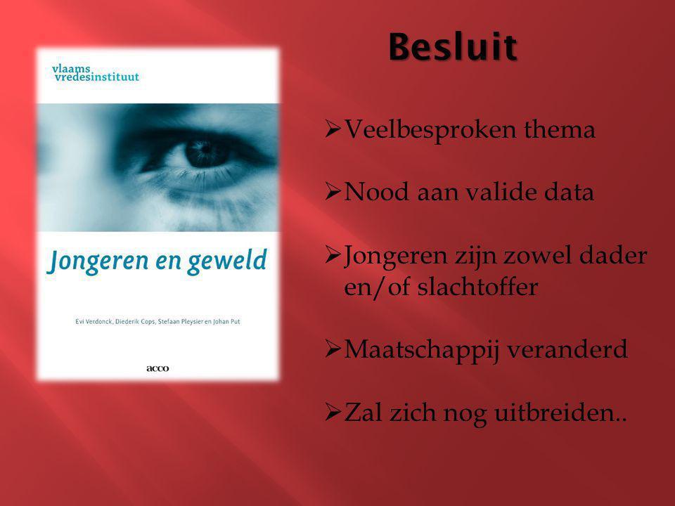 Besluit  Veelbesproken thema  Nood aan valide data  Jongeren zijn zowel dader en/of slachtoffer  Maatschappij veranderd  Zal zich nog uitbreiden.