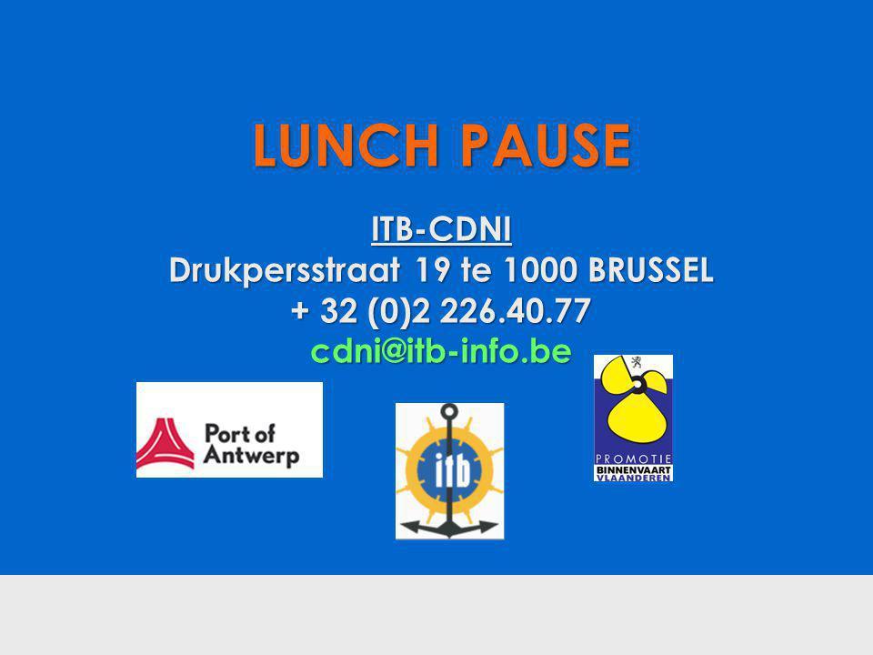 LUNCH PAUSE ITB-CDNI Drukpersstraat 19 te 1000 BRUSSEL + 32 (0)2 226.40.77 cdni@itb-info.be