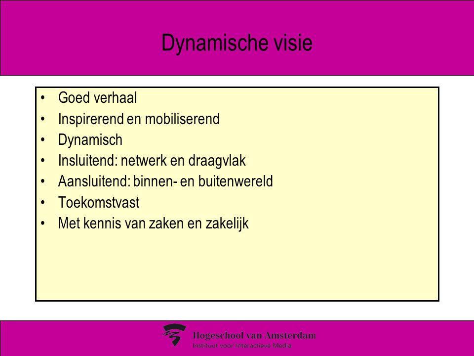 Dynamische visie Goed verhaal Inspirerend en mobiliserend Dynamisch Insluitend: netwerk en draagvlak Aansluitend: binnen- en buitenwereld Toekomstvast Met kennis van zaken en zakelijk