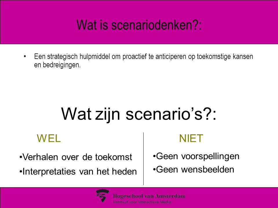 Wat is scenariodenken?: Een strategisch hulpmiddel om proactief te anticiperen op toekomstige kansen en bedreigingen. Wat zijn scenario's?: Verhalen o
