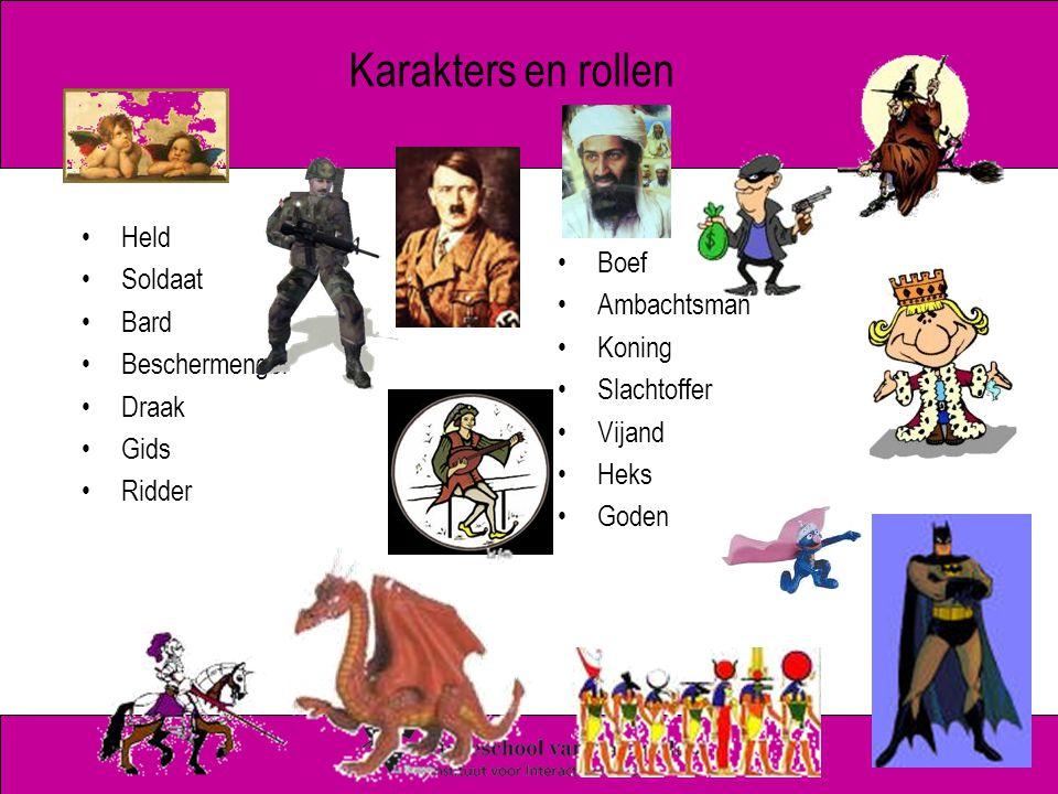 Karakters en rollen Held Soldaat Bard Beschermengel Draak Gids Ridder Boef Ambachtsman Koning Slachtoffer Vijand Heks Goden