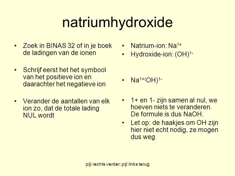 pijl rechts verder; pijl links terug Natriumhydroxide NaOH Na-ion: Na 1+ Hydroxide-ion: OH 1-