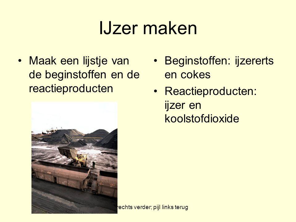 pijl rechts verder; pijl links terug IJzer maken Maak een lijstje van de beginstoffen en de reactieproducten Beginstoffen: ijzererts en cokes Reactiep