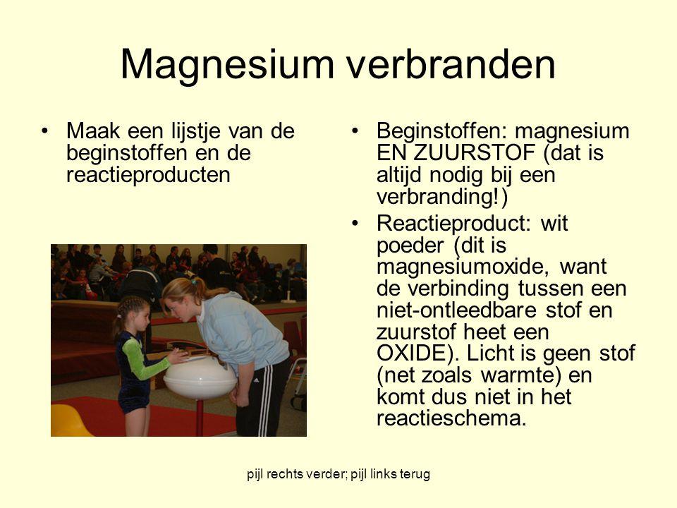 pijl rechts verder; pijl links terug Magnesium verbranden Maak een lijstje van de beginstoffen en de reactieproducten Beginstoffen: magnesium EN ZUURS