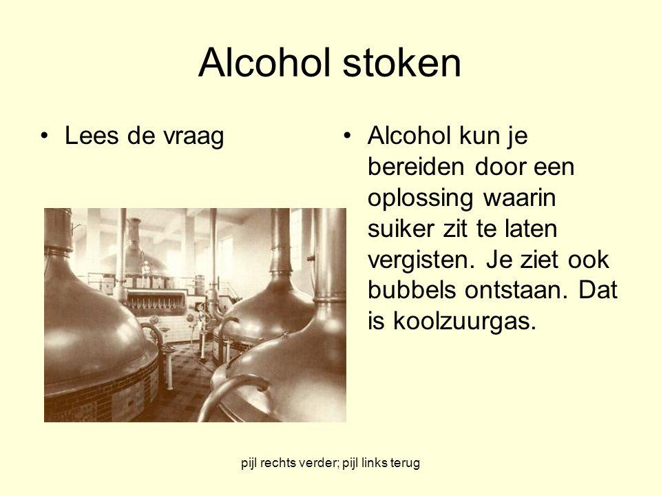 pijl rechts verder; pijl links terug Alcohol stoken Lees de vraagAlcohol kun je bereiden door een oplossing waarin suiker zit te laten vergisten. Je z
