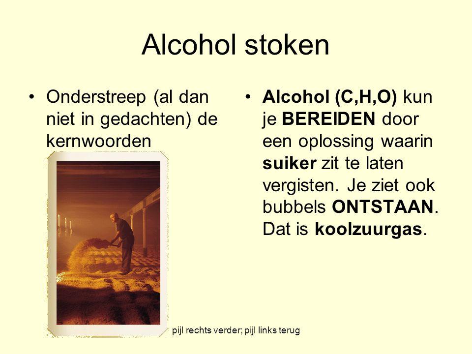 pijl rechts verder; pijl links terug Alcohol stoken Onderstreep (al dan niet in gedachten) de kernwoorden Alcohol (C,H,O) kun je BEREIDEN door een opl