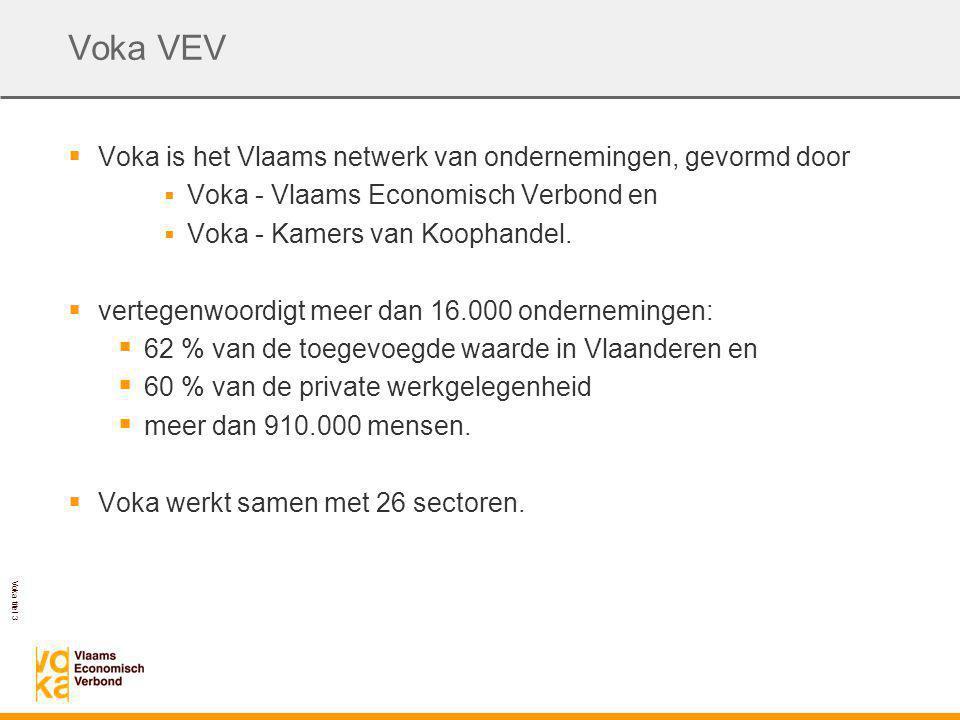 Voka titel 3 Voka VEV  Voka is het Vlaams netwerk van ondernemingen, gevormd door  Voka - Vlaams Economisch Verbond en  Voka - Kamers van Koophandel.