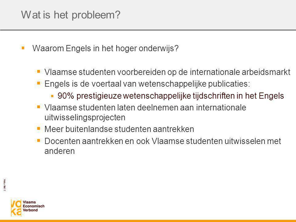 Voka titel 7 Wat is het probleem.  Waarom Engels in het hoger onderwijs.