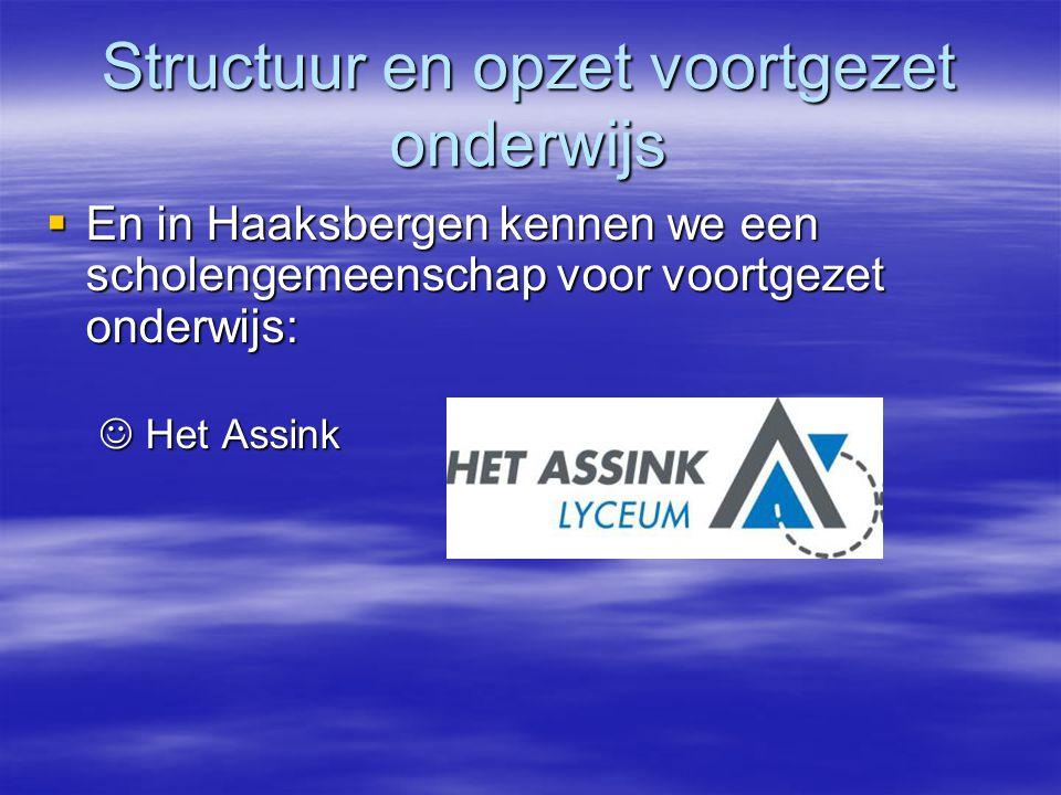 Structuur en opzet voortgezet onderwijs  En in Haaksbergen kennen we een scholengemeenschap voor voortgezet onderwijs:  En in Haaksbergen kennen we