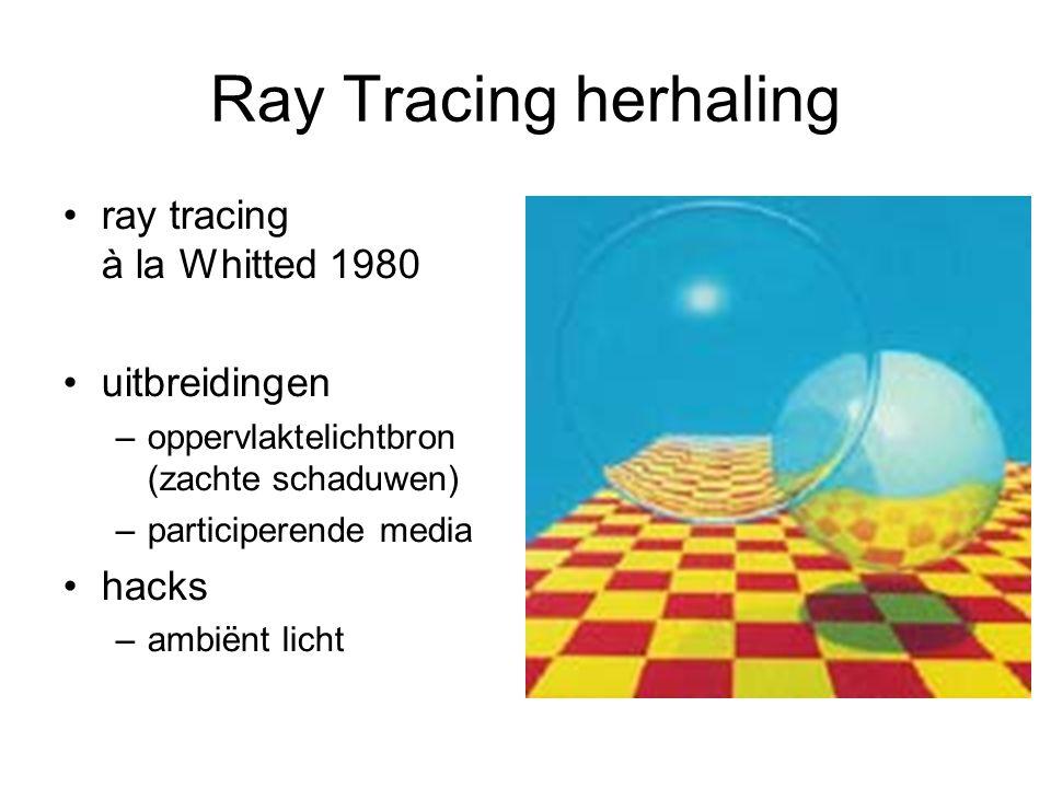 Ray Tracing herhaling ray tracing à la Whitted 1980 uitbreidingen –oppervlaktelichtbron (zachte schaduwen) –participerende media hacks –ambiënt licht