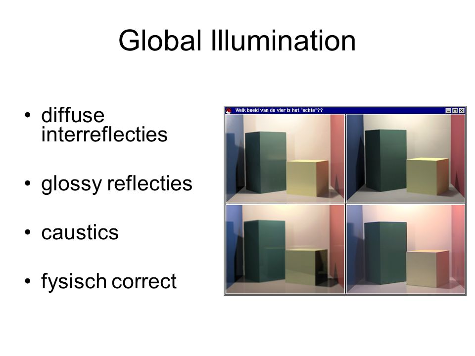 Global Illumination diffuse interreflecties glossy reflecties caustics fysisch correct