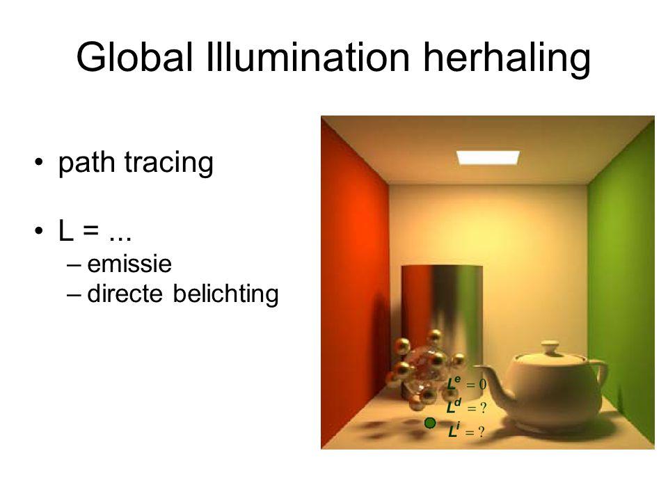 Global Illumination herhaling path tracing L =... –emissie –directe belichting