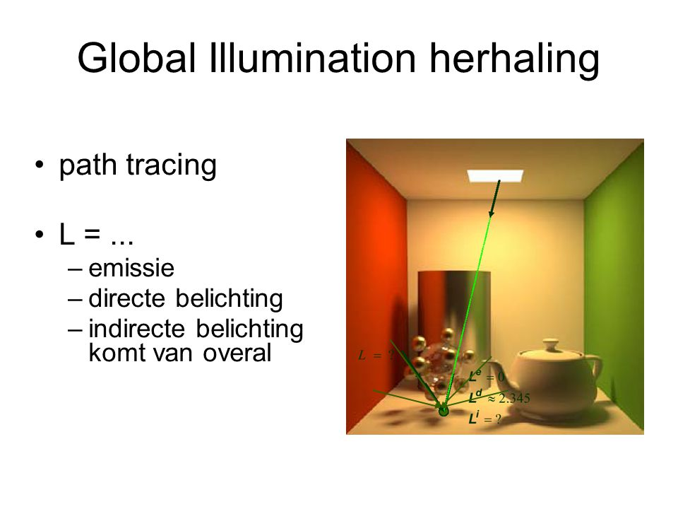 Global Illumination herhaling path tracing L =... –emissie –directe belichting –indirecte belichting komt van overal