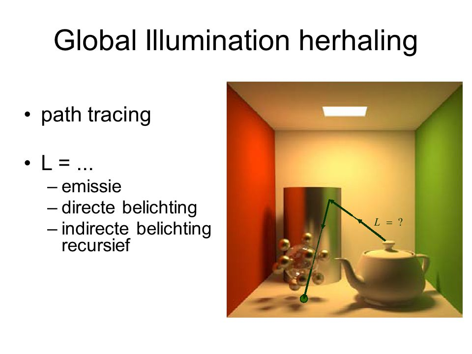 Global Illumination herhaling path tracing L =... –emissie –directe belichting –indirecte belichting recursief
