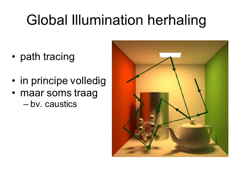 Global Illumination herhaling path tracing in principe volledig maar soms traag –bv. caustics