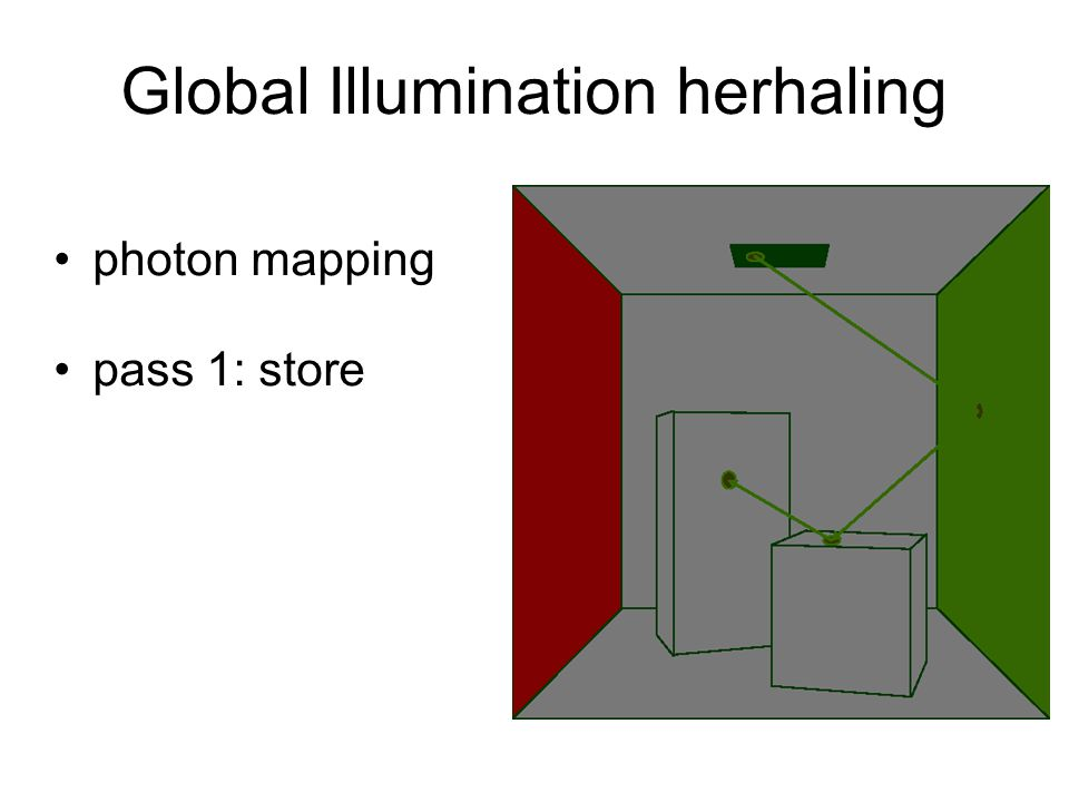 Global Illumination herhaling photon mapping pass 1: store