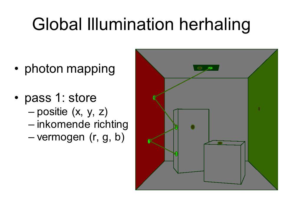 Global Illumination herhaling photon mapping pass 1: store –positie (x, y, z) –inkomende richting –vermogen (r, g, b)