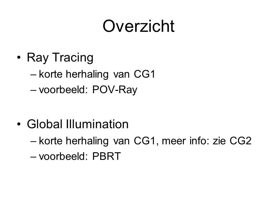 Overzicht Ray Tracing –korte herhaling van CG1 –voorbeeld: POV-Ray Global Illumination –korte herhaling van CG1, meer info: zie CG2 –voorbeeld: PBRT
