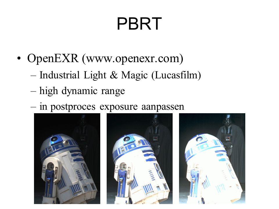 PBRT OpenEXR (www.openexr.com) –Industrial Light & Magic (Lucasfilm) –high dynamic range –in postproces exposure aanpassen