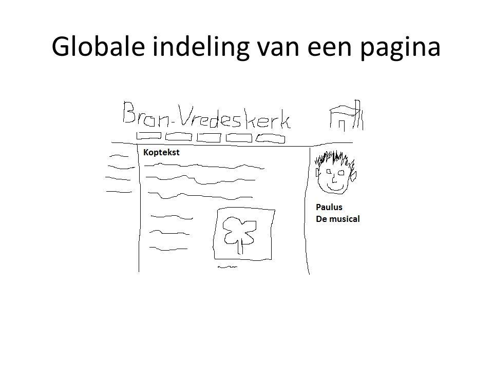 Globale indeling van een pagina